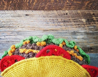 Crochet Taco Decorative Throw Pillow - Amigurumi