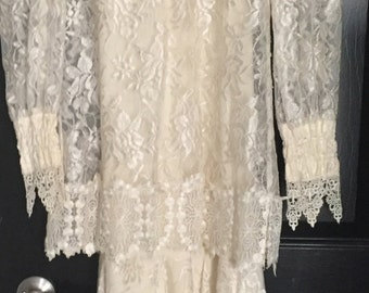 Vintage 1970's Lace Dress By Bari Portas for Cachet