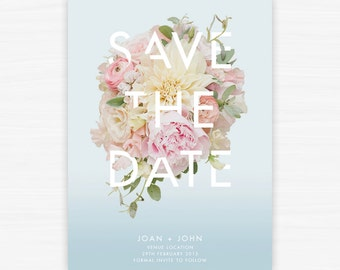 Printable Save the Date Wedding Stationery- Bouquet