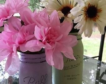 Matte Mason Jar Vases Set (2)