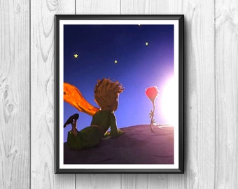 The little prince as he watches the stars and grow a flower