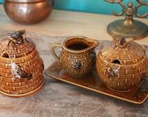 Vintage Tea Coffee Set - Creamer - Sugar - Honey - Bees - Honeybee - Honeycomb - Set of Four - Bowls - Retro - Cute - Ceramic - Nature