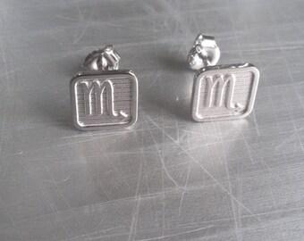 Zodiac Earrings, Square zodiac earrings- Relief zodiac earrings, Square Earrings, Relief Earrings, Tiny zodiac earrings, Horoscope earrings