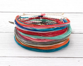 Wax Cord Surfer Bracelet, Friendship Bracelet, Waterproof Wax Bracelet, Adjustable Boho Bracelet, Stackable Beach Bracelet, Custom Color