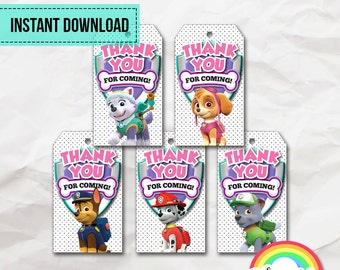 Paw Patrol tags, Paw Patrol favor tags, Paw Patrol birthday tags, Paw Patrol thank you tags, favor tags, goodie bag tags, loot bag tags