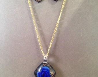 Handmade Blown Glass Pendant and Earring Set