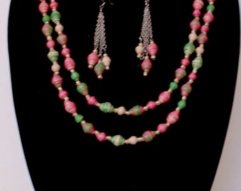 Exquisite Handmade Paper bead Necklace and Earring set
