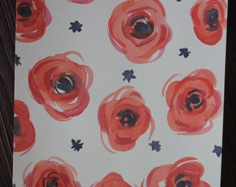 Watercolor Floral Poppies Painting