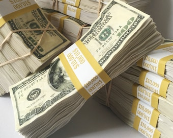 Prop Money One Single 10,000 Dollar Stack Distressed for Music Videos, Instagram, Advertising