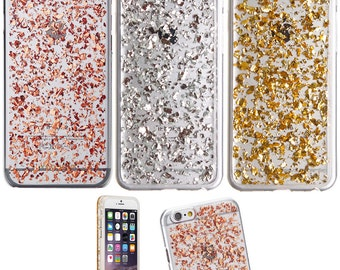 Rose Gold Silver Flake Leaf iPhone 5/6/6 Plus/7/7 Plus Case