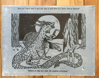 What is Real? Creature and Ghost Relief Print
