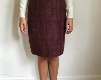 Vintage Dark Purple Plaid Pencil Skirt