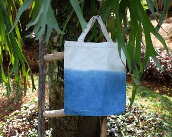Canvas Tote Bag (White Blue 5)