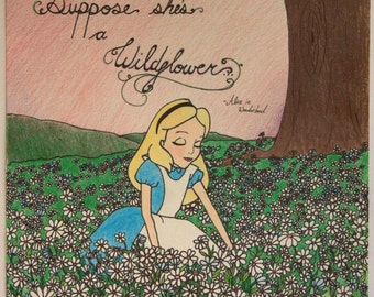 Original Handdrawn 9x12 Sketch of Alice from Alice in Wonderland