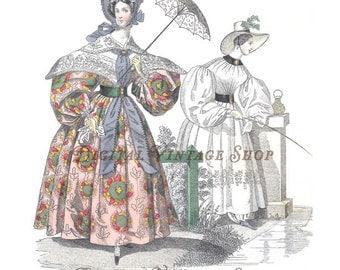Modes de Paris August 1834 French Fashion Handpainted Print Digital Download