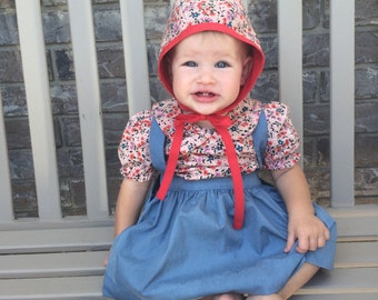 Baby Bonnet// Reversible bonnet // Hat, Baby Hat // Handmade Bonnet // Lucky Strikes // Cotton and steel // Floral, Red