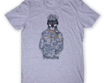 US Army Solider Wolf Tee Animal Graphic T-shirt