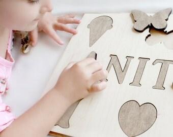Wood Name Puzzle Etsy
