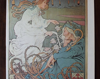 """Vintage French Art Nouveau Bicycle Poster for Griffiths Cycles & Accessories, 10.5"""" x 16"""", Henri Thiriet, 1898"""