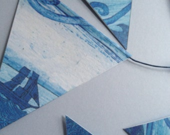 Illustrated Bunting - Lighthouse Birds. Nine flags.