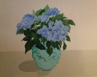 Blue Hydrangeas in Turquoise Bowl