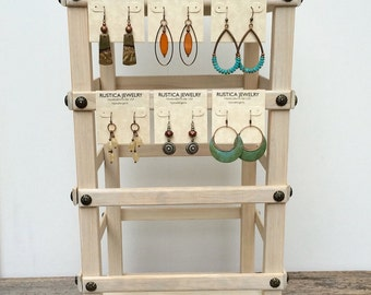 Rotating Display Jewelry Stand, 4-Sided Wooden, Earring Cards Display & Organizer - THE BAND STAND