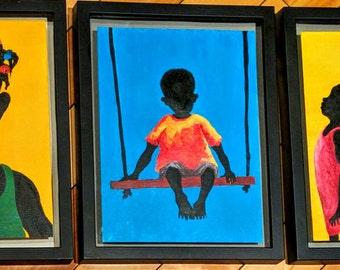 Caribbean Children - Acrylic Painting
