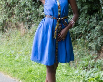 Chiffon dress, evening dress, cocktail dress, Blue dress, African print dress