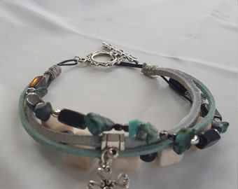 Women's 4 Stranded Leather and Suede, Turquoise, Beaded Bracelet
