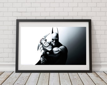 LARGE Batman Batarang/ Greyscale Batman / Artistic Batman / DC Comics / DC Universe / Batman Illustration
