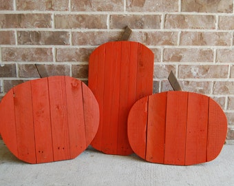 Set of 3 Halloween Pumpkin Home Yard Decorations made from reclaimed wood - fall decor, autumn decor, halloween, home decor, lawn decor