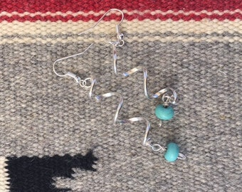 Handcrafted Spiral Silver and Turquoise Howlite Earrings