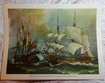 Cortellini,  Seizure of the English Fregate Starthope,  Color Lithograph,  Nautical Lithograph,  Vintage Boat Decor