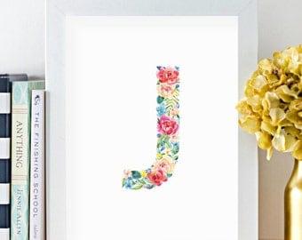 Monogram, Letter J, Watercolor, Floral, Printable, Girls room art, Girls Nursery ideas, Girls nursery print, Flowers, leaves, Kids art, Pink