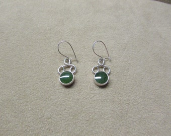 Beautiful Jade STERLING silver round-stone earrings with a lace-like wire work design.