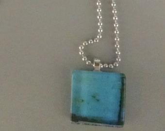 SALE - Blue Glass Tile Necklace