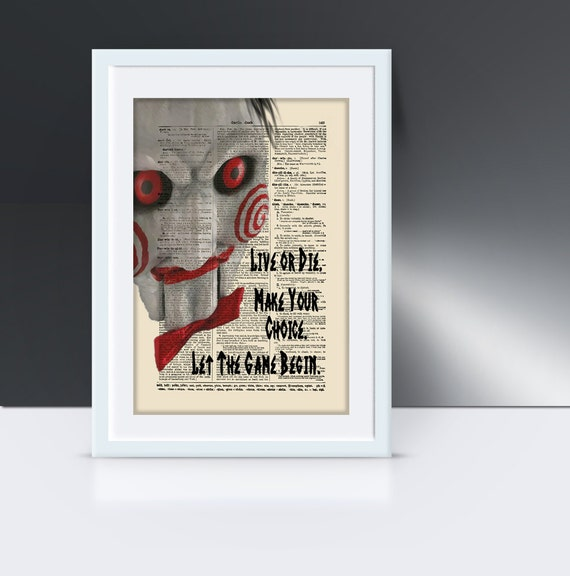 Jigsaw Doll From The Movie Saw , Halloween Art, Dictionary Art Print,