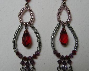 Red Heart Swarovski Chandelier Earrings