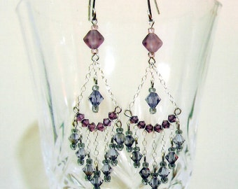 Dainty Purple Chandelier Earrings