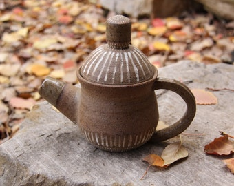 Hand-Painted Striped Raw Clay Teapot