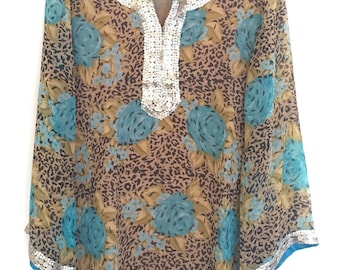 Animal print blue rose art georgette tunic