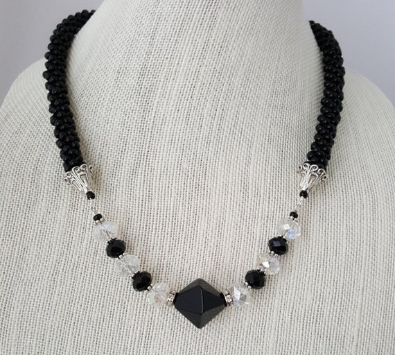 Black and crystal beaded kumihimo woven necklace with obsidian bead