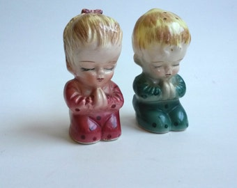 Vintage Praying Children Salt and Pepper Shakers