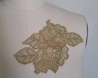 Lace Gold Rose Floral Applique
