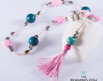 Pink Metal - Beaded Tassel Necklace