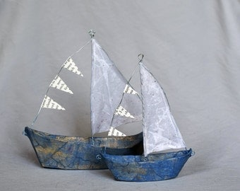 Paper Mache Wire Toy Boats - Blue, Handmade Sailboats