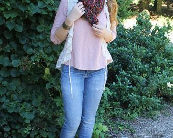 Handmade Crocheted Scarf - Jewel-Toned Multi-Colored