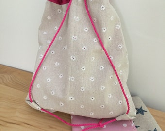 Girl's white flowers PE bag - can be personalised