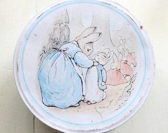 Vintage Beatrix Potter Biscuit Tin Peter Rabbit 1989 1980s Beatrix Potter Tin Collectable Tin Child Cartoon Animal Bunnies Rabbits