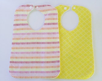 Baby Bib-Feeding Bib-Toddler Bib-Modern Baby Bib-Large Bib-Baby Girl-Baby Gift-Baby Shower Gift-Cross-Yellow-Pink-Orange-Dashes-Striped